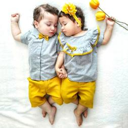 US Big/Little Sister Brother Matching Baby Girl Boy Tops Sho