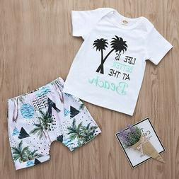 US Infant Baby Girls Boys Letter Print T Shirt Shorts Outfit