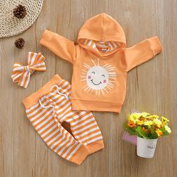 US Lovely Infant Baby Boy Kid Hooded Top Pants Autumn Winter