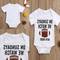 US Newborn Baby Boy Football Cotton Romper Jumpsuit Outfits