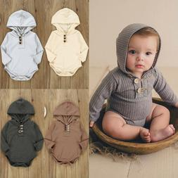 US Newborn Baby Girls Boys Autumn Clothes Hooded Solid Rompe