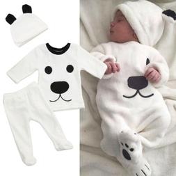 US Newborn Infant Baby Boy Girl Fluffy Winter Top Pants Warm