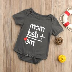 US STOCK Newborn Baby Clothes Boy Girl Kids Bodysuit Funny C