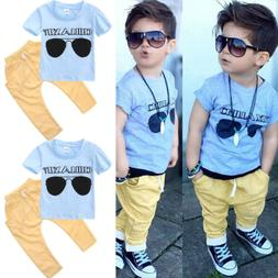 US Stock Summer Baby Boy Clothes T-shirt Tops Pants Outfits