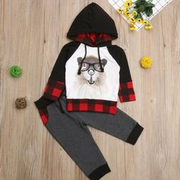 US Toddler Baby Boys Girls Hoodie T-shirt Tops+Pants Outfits