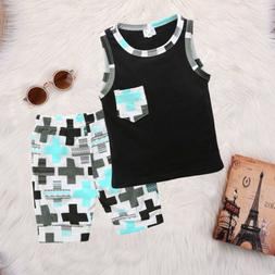US Toddler Kid Baby Boy Clothes Boys Outfits Sets Short T-Sh