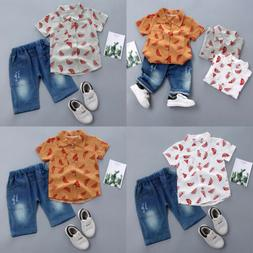 US Toddler Kids Baby Boy Clothes Boys Outfits Sets Short T-S