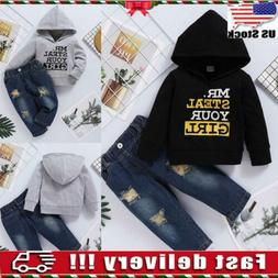 USA Kids Baby Boys Hoodie T-shirt Tops Denim Pants Outfits T