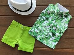 USA Toddler Kids Baby Boys Casual Clothes Outfits T Shirt To
