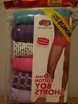 Women's Fruit of the Loom 6 Pack 100% Cotton tag free Boy Sh